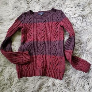 Gap chunky knit red and purple sweater